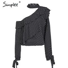 BerryGo One Shoulder Polka Dot Blouse Shirt Retro Ruffle Lantern Sleeve Chiffon Blouse Summer Bow