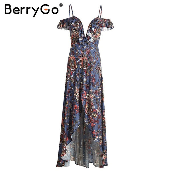 Ruffle Backless Long Dress Vintage Boho Beach Summer Dress Women Split Chiffon Zipper Maxi Dress