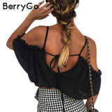 BerryGo Ruffle Chiffon White Blouse Lace Up Beach Shirt Women Tops Elastic Backless Blouse