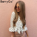 BerryGo Ruffle V Neck Chiffon Blouse Shirt Women White Polka Dot Summer Flare Sleeve Tops