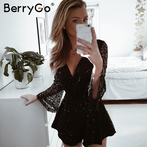 Lace Gold Sequin Jumpsuit Romper Hollow Out Long Flare Sleeve Overalls Summer Deep V Neck Black Playsuit
