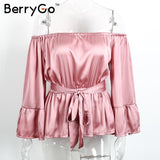 BerryGo Off Shoulder Ruffle Satin Blouse Shirt Soft Flare Sleeve Bow Summer Tops Glossy Pink Blouses