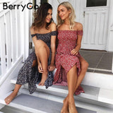 Vintage Side Split Off Shoulder Summer Dress High Waist Pleated Maxi Dress Women Beach Long Dress