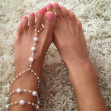 Chain Footless Bridal Foot Beach Wedding Simulated Pearl Barefoot Sandal Women Anklets Jewelry