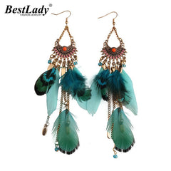 Lady Long Tassel Feather Style Ethnic Boho Big Dangle Statement Wedding Earrings Accessories