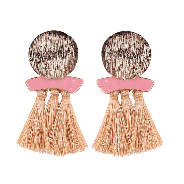 Lady Statement Tassel Drop Earrings Wedding Bohemian Fringed Dangle Earring