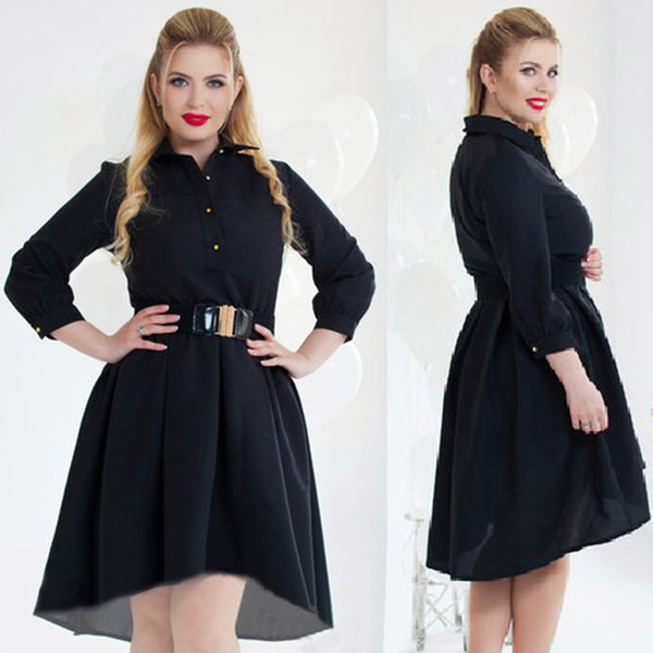 Woman Dress Autumn Long Sleeve Elegant Loose Patchwork Dresses Plus Size Clothing