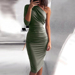 One Shoulder Bodycon Party Dresses Casual Midi Sheath Slim Bodycon Package Hip Midi Dress