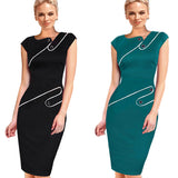 Black Dress Tunic Women Formal Work Office Patchwork Asymmetrical Neck Knee Length Pencil Dress