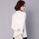 Black Red White Chiffon Blouse Women Autumn Long Sleeve Office Shirts Korean Casual Slim Tops