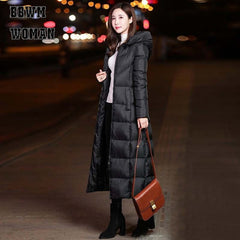 Black Winter Jacket Women Long Thick Warm Parka Coat