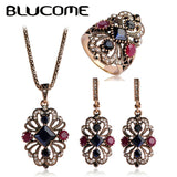 Bridal Wedding Earrings Ring Sets Resin Pendants Turkish Earring Vintage Jewelry Sets Princess Hooks