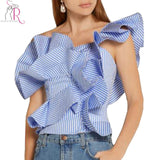 Blue Stripes One Shoulder Asymmetric Ruffle Blouse Women Short Sleeve Backless High Street Top