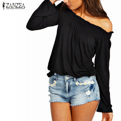 Spring Autumn Sexy Women Blouses Solid Shirred Off Shoulder Tops Casual Blouse Shirts