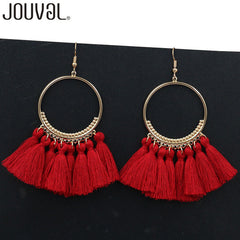 Bohemian Cotton Colorful Tassels Earrings Vintage Jewelry Circular Metal Drop Dangles Earrings