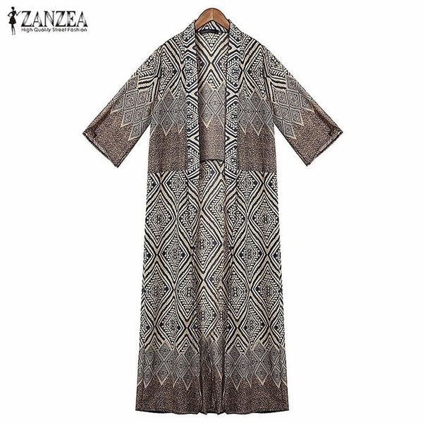 Bohemian Women Summer Diamond Printed Blouse Loose Kimono Half Sleeve Long Cardigan Tops