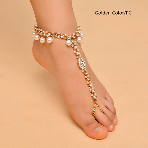 Boho Imitation Pearl Pendant Crystal Rhinestone Multilayer Anklet Wedding Foot Chain Jewelry