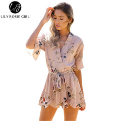 Boho Red Floral Print Ruffles Playsuits Women V Neck Jumpsuits Rompers Sexy Girls Short Overalls