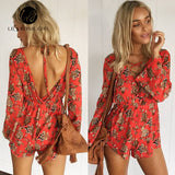 Boho Lace Up Deep V Neck Floral Print Women Playsuits Summer Backless Rompers Short Overalls Jumpsuit