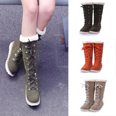 Women Boots Lace-Up Knee Non-Slip Round Toe Snow Outdoor Leather Winter Shoes