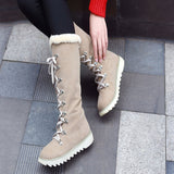 Boots Women's Shoes Platform Lace-Up The Knee Non-Slip Round Toe Martin Snow Boots Outdoor PU Leather Winter Shoes