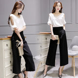 BornToGirl Women Summer Cotton Linen 2 Piece Suit Set Hollow Crop Top Wide Leg Pants