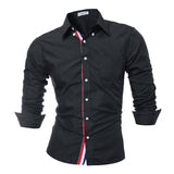 Male Shirt Long-Sleeves Tops High Quality Solid Color Mens Shirts Slim Men Shirt