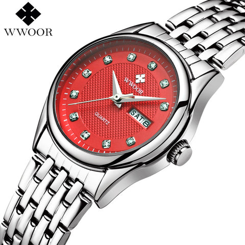 Luxury Women Waterproof Watches Quartz Analog Date Clock Silver Stainless Steel Wrist Watch