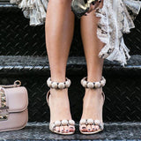 Women Pumps Ankle Strap High Heel Shoes Sexy Peep Toe Sandals Party Wedding Shoes