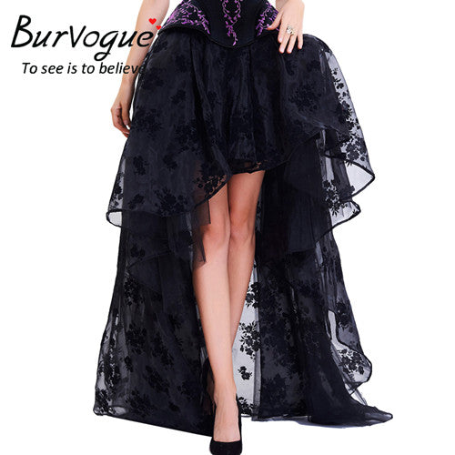 Long Maxi Steampunk Elastic Women Black Tulle Skirt Ruffled Chiffon Lace Midi Gothic Corset Skirt