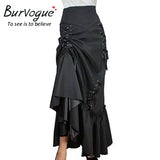 Steampunk High Waist Long Maxi Skirts Black Three Tiered Satin Gothic Steampunk Skirts
