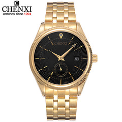 CHENXI Gold Men Watches Top Luxury Wristwatch Clock Golden Quartz Wrist Watch Calendar