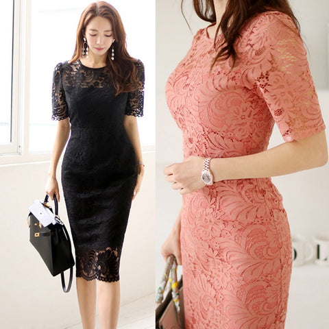 Lace Bag Hip Party Robe Bodycon Dress Summer Korean Solid O-neck Short Sleeve Dress