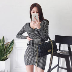 Hip Bodycon Dress Autumn Cotton Print V-neck Long Sleeve Mini Work Straight Dress