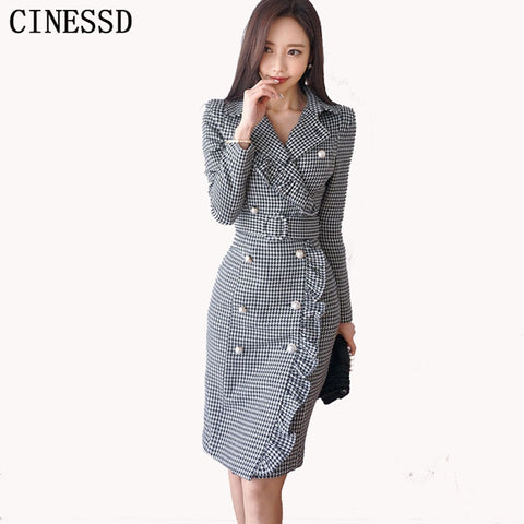 Office Dress Bodycon Spring Temperament Double-Breasted Notched Neck Work Dress