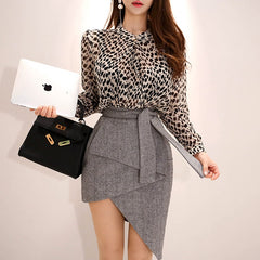Two-Piece Hip Irregular Dress Women Autumn Cotton Point Stand Neck Bodycon Dress Suits Plus Size