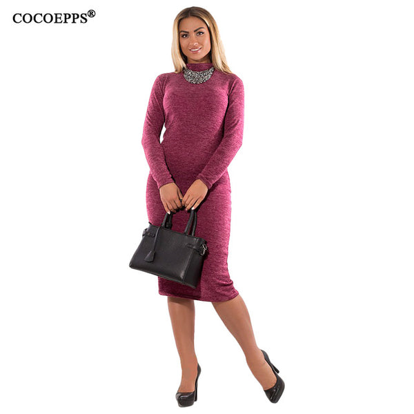 COCOEPPS Autumn Winter Women Dresses Big Size Casual Long Sleeve Dress Plus Size Dress
