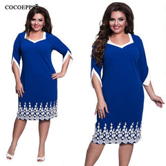 COCOEPPS Lace Patchwork Dress Summer Plus Size Office Big Large Size Casual Loose Dresses