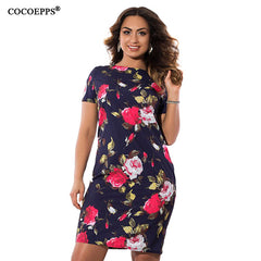 Autumn Floral Print Women Dress Vintage Plus Size Dresses Big Size Ladies Office Dress