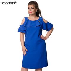 COCOEPPS Solid Dresses Sexy Plus Size Off-Shoulder Big Size Ruffles Sleeve Blue Dress