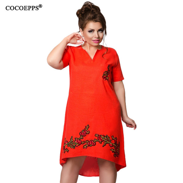 COCOEPPS Embroidery Dress Summer Large V-Neck Plus Size Loose Short Sleeve Dress