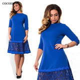 COCOEPPS Blue Dress Big Sizes O-neck Loose Dresses Plus Size Knee-Length Casual Dress