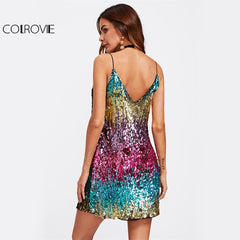 Colorful Sequin Party Club Dress Women Sexy A Line Mini Summer Cami Dress