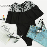 COLROVIE Dotted Mesh Black Shoulder Ruffle Bodycon Jumpsuit Keyhole Patchwork Bodysuit