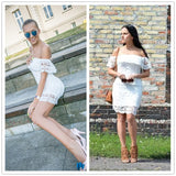 Summer Women Mini Dresses White Off Shoulder Short Sleeve  Strapless Lace Ruffle Bodycon Dress