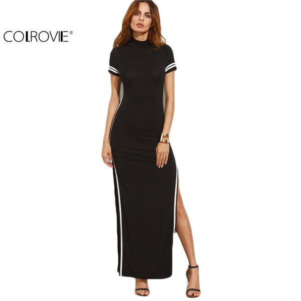 COLROVIE Sexy Bodycon Dresses Black Cut Out Striped Trim Short Sleeve High Neck Split Sheath Maxi Dress
