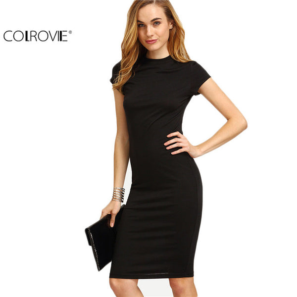 Women Work Wear Sheath Dresses Solid Black Cap Sleeve Crew Neck Knee Length Bodycon Dress
