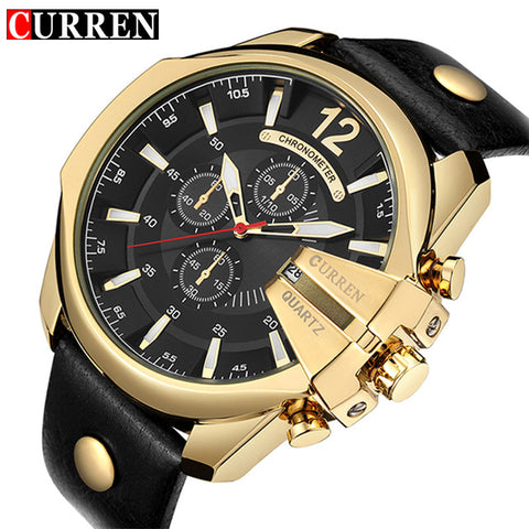 CURREN Men's Sports Quartz Watch Men Top Luxury Designer Watch Quartz Gold Clock Date