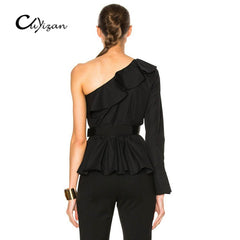 One Shoulder Ruffles Blouse Women Tops Autumn Casual Black Shirt Long Sleeve Cool Blouse