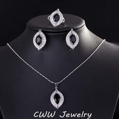 CWWZircons Light Blue Cubic Zirconia Crystal 925 Sterling Silver Jewelry Sets For Women